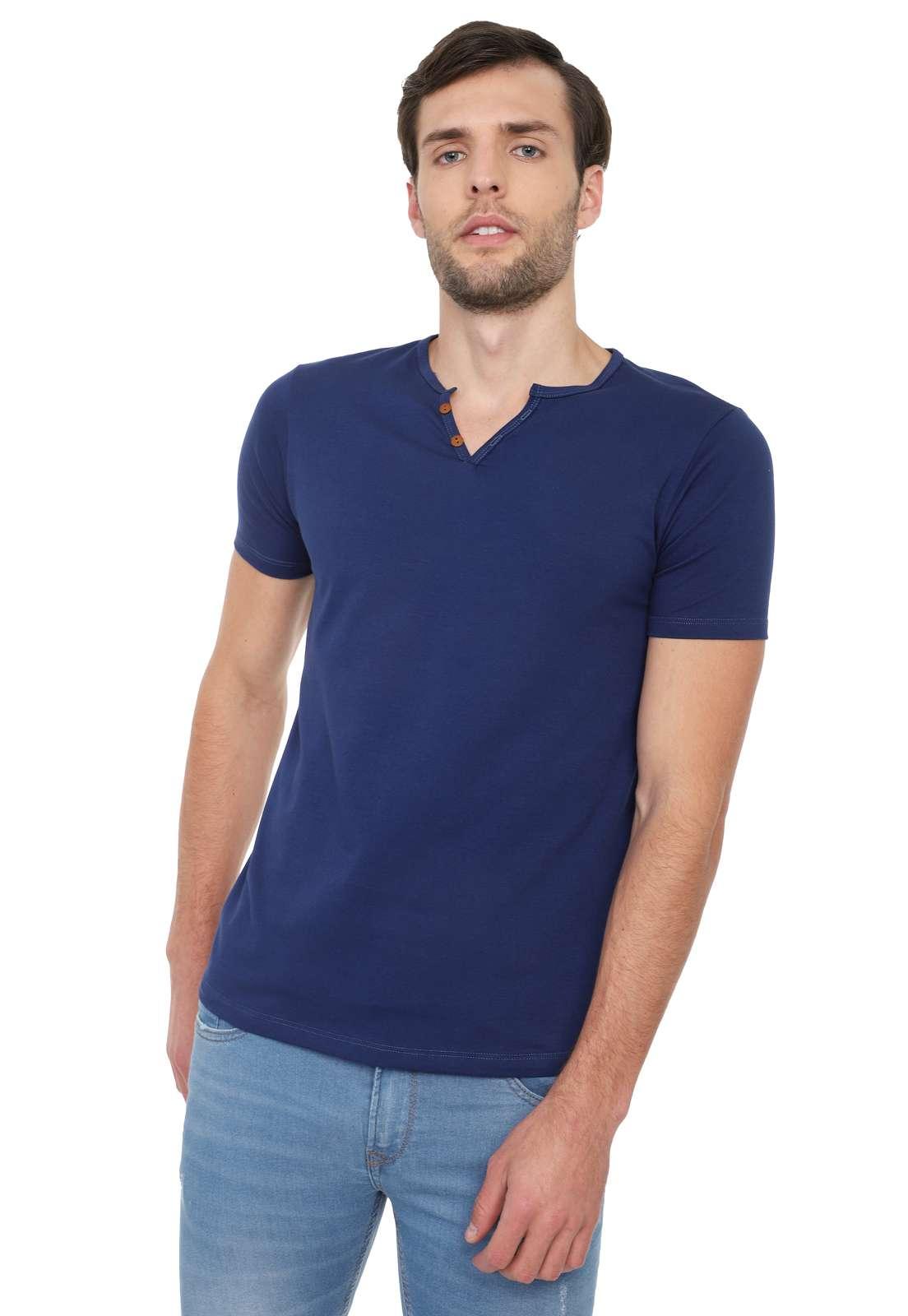 Camiseta Con Botones Licrada - Azul Oscuro | Polovers