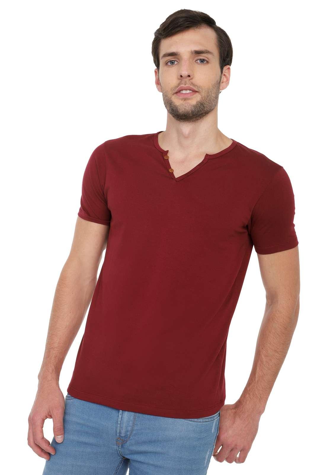 Camiseta Con Botones Licrada - Vinotinto | Polovers