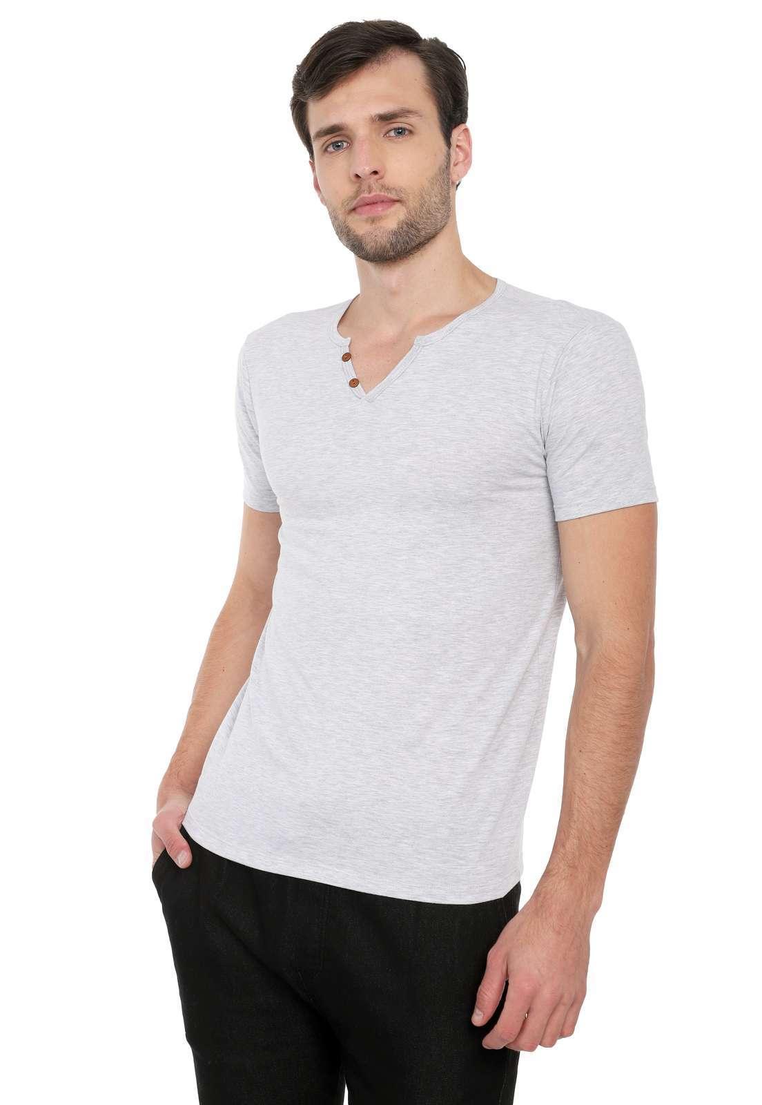 Camiseta Con Botones Licrada - Gris Jaspe | Polovers