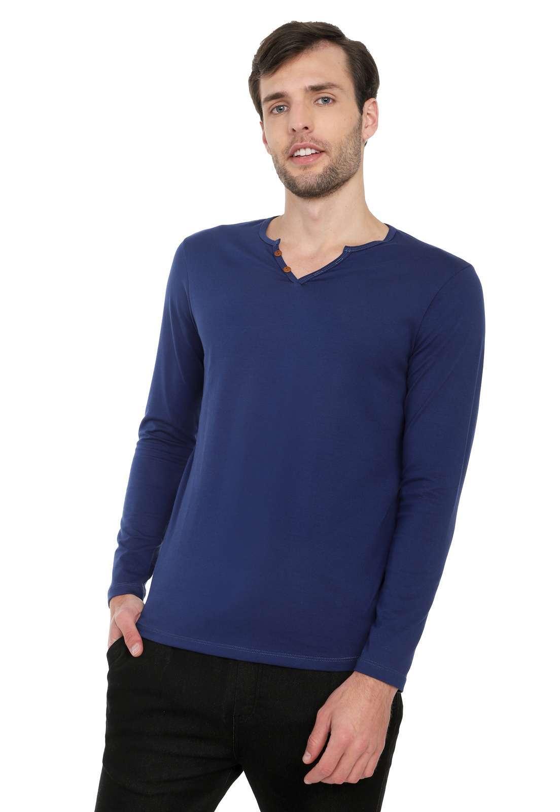 Camiseta Manga Larga Licrada - Azul Oscuro | Polovers