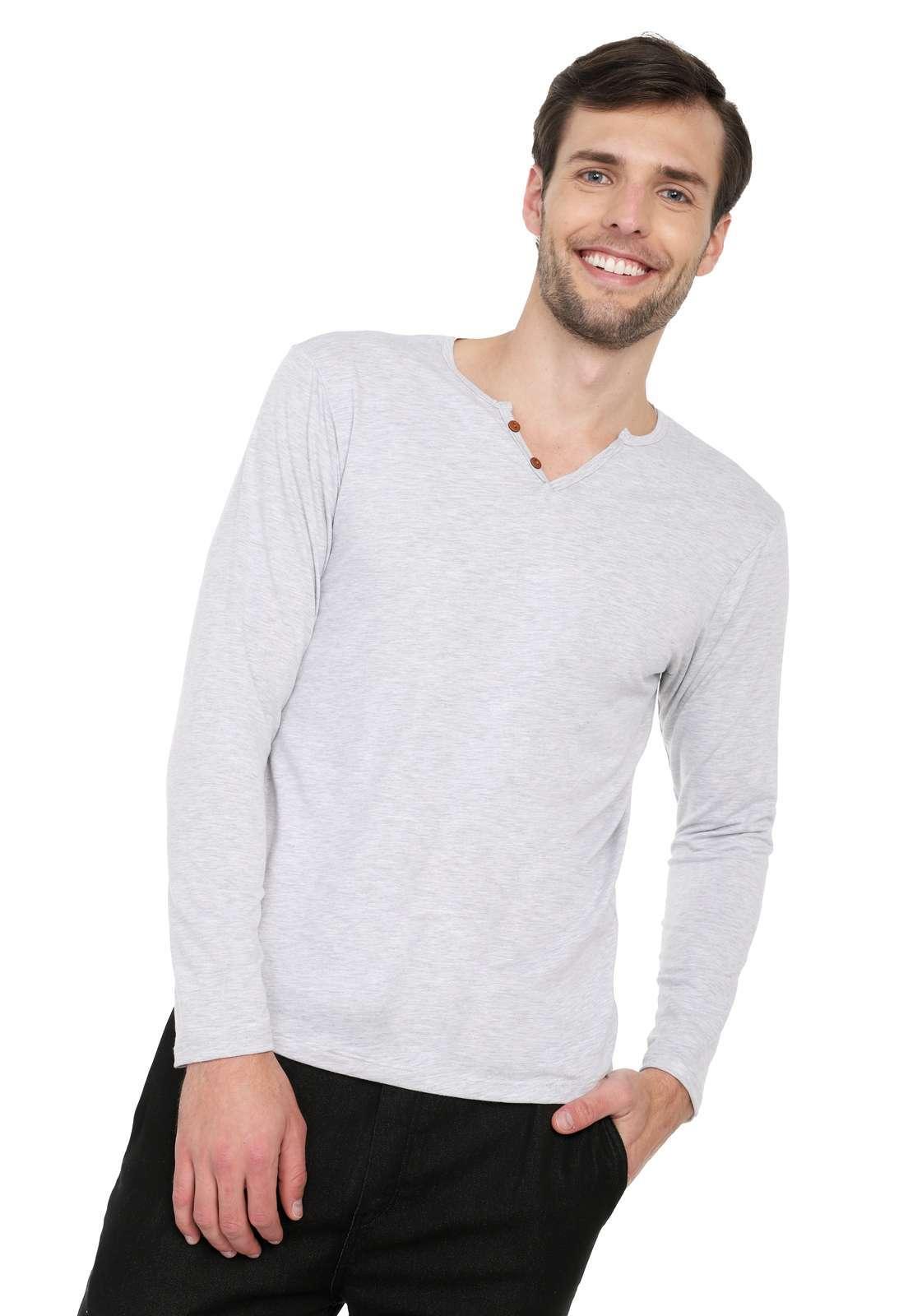 Camiseta Manga Larga Licrada - Gris Jaspe | Polovers