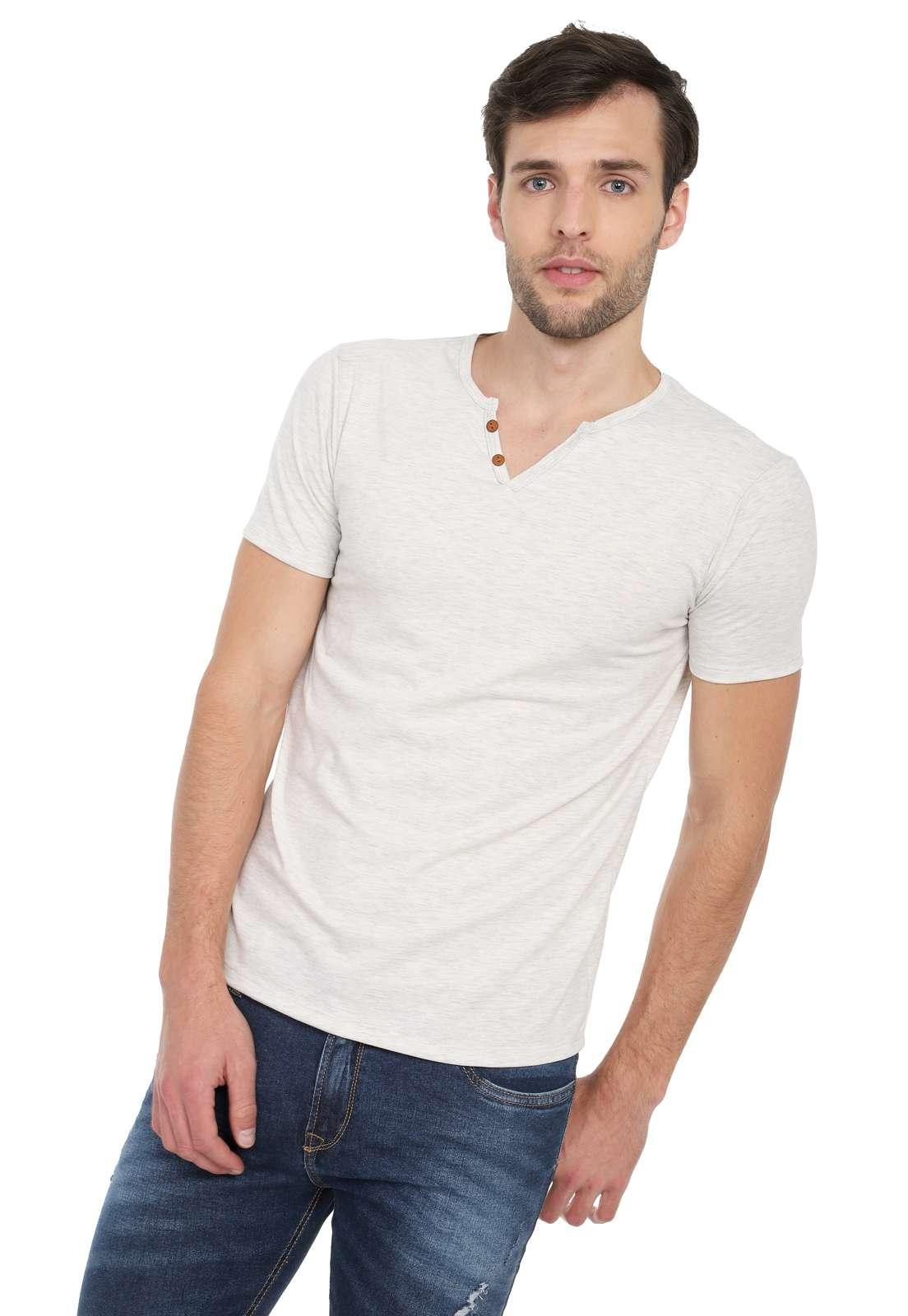 Camiseta Con Botones Licrada - Marfil | Polovers