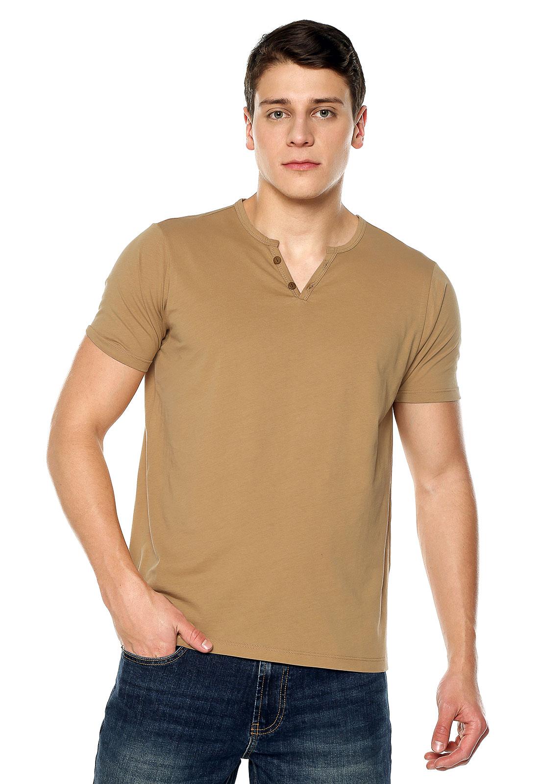 Camiseta Con Botones - Ocre | Polovers