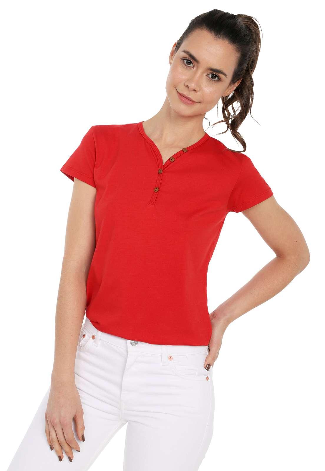 Camiseta Mujer Con Botones Licrada - Rojo | Polovers