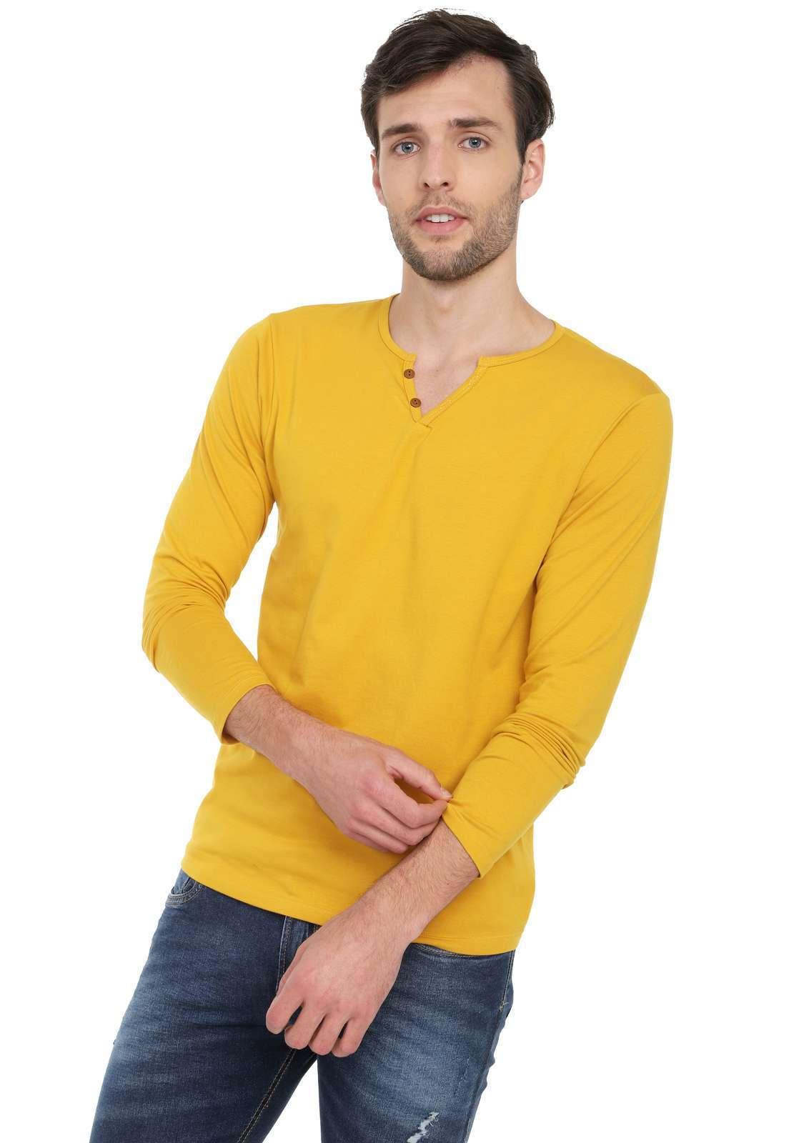 Camiseta Manga Larga Licrada - Mostaza | Polovers