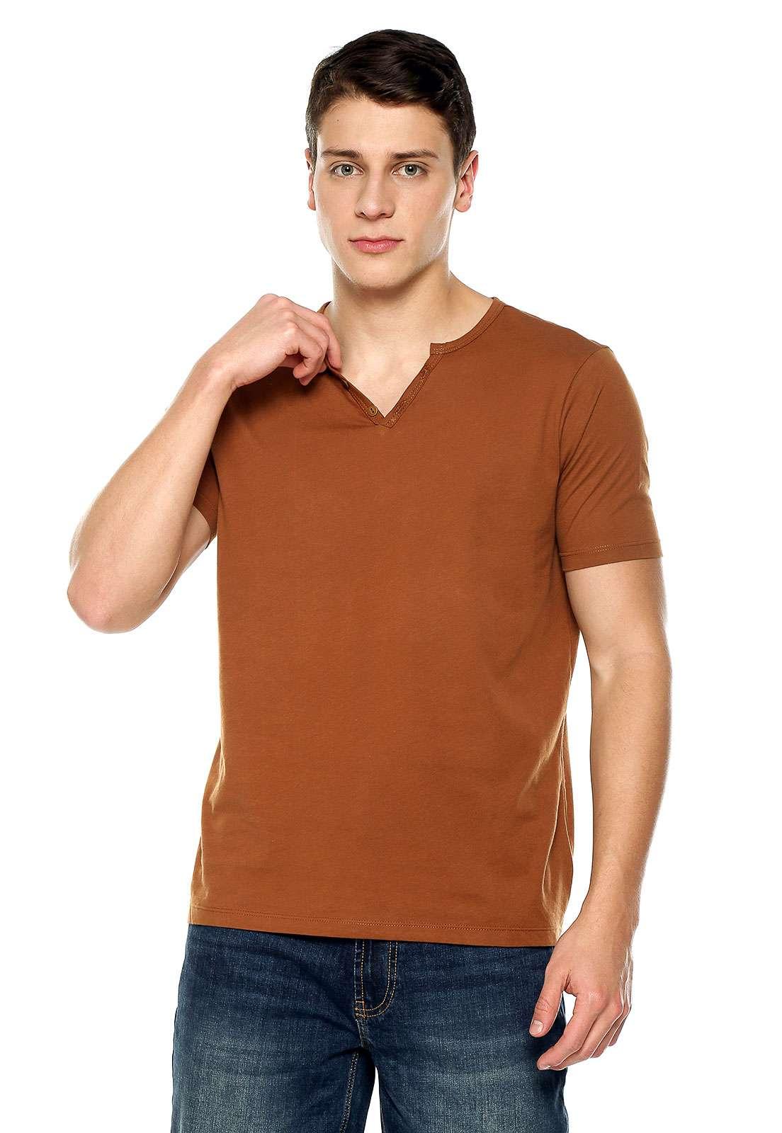 Camiseta Con Botones - Café | Polovers