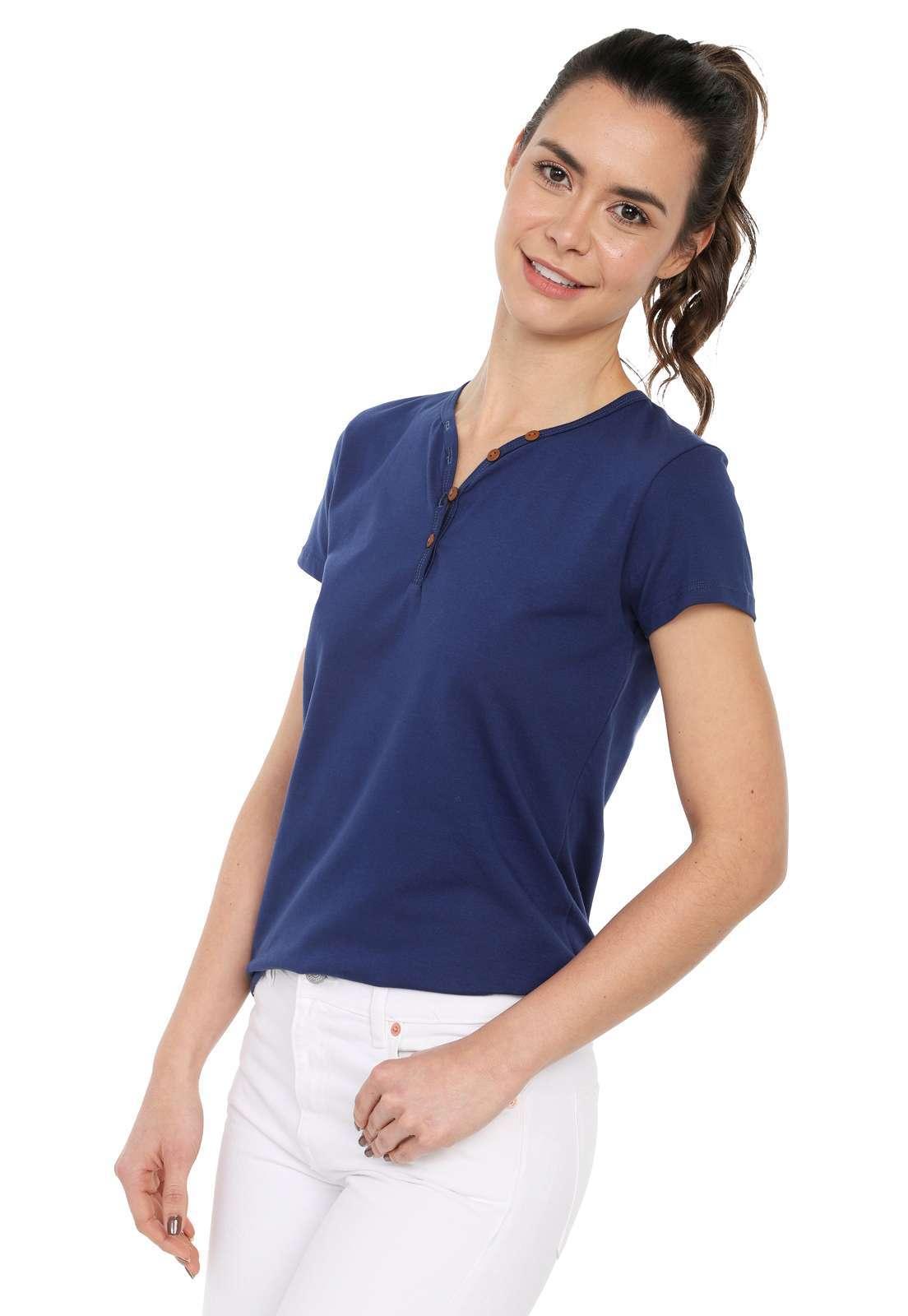 Camiseta Mujer Con Botones Licrada - Azul Oscuro | Polovers