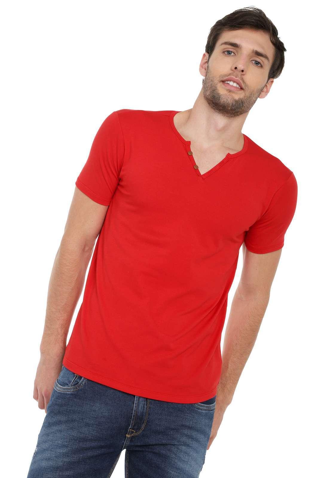 Camiseta Con Botones Licrada - Rojo | Polovers