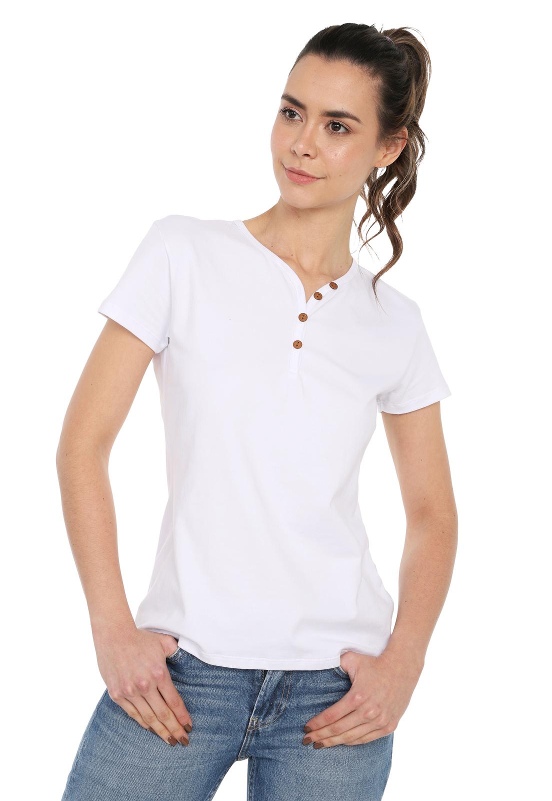 Camiseta Mujer Con Botones Licrada - Blanco | Polovers