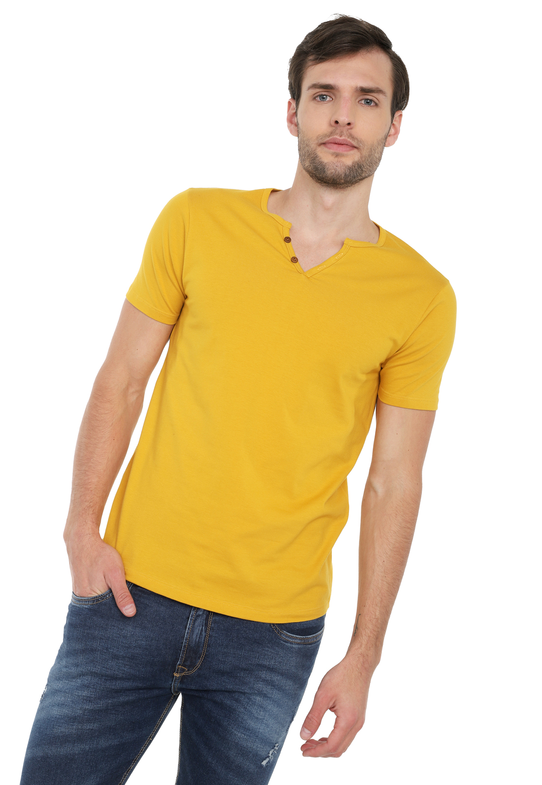 Camiseta Con Botones Licrada - Mostaza | Polovers