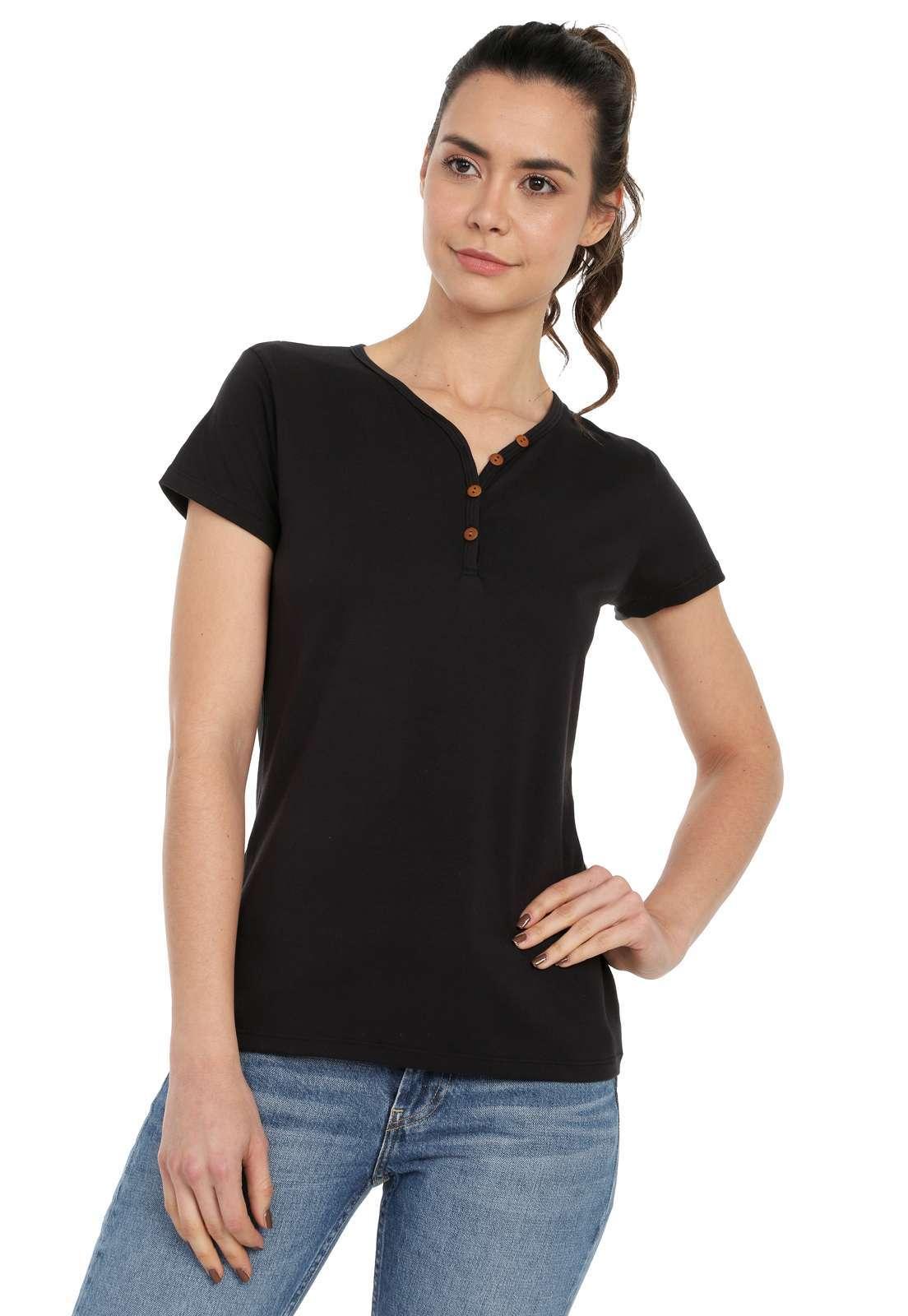 Camiseta Mujer Con Botones Licrada - Negro | Polovers