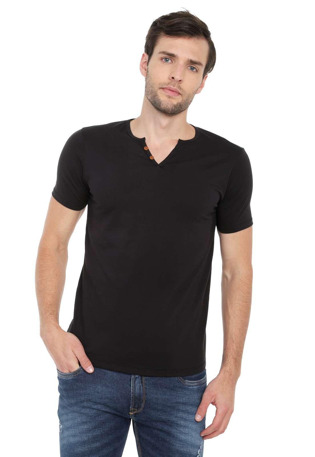 Camiseta Con Botones Licrada - Negro | Polovers