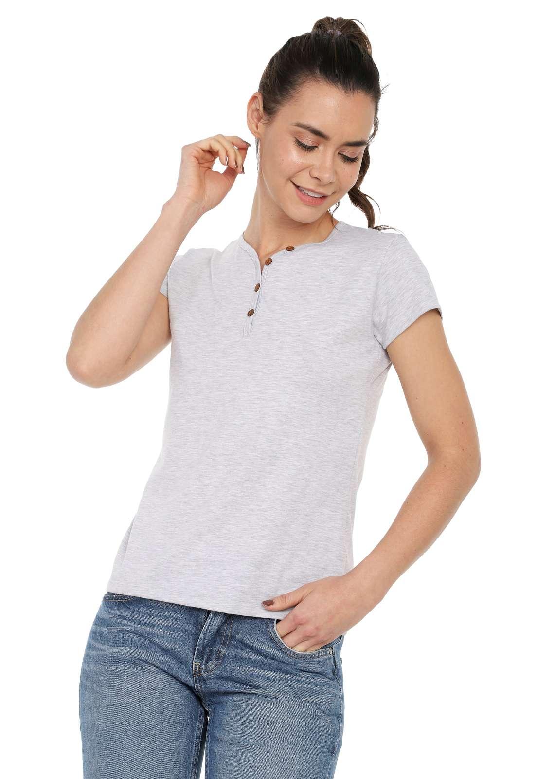 Camiseta Mujer Con Botones Licrada - Gris Jaspe | Polovers
