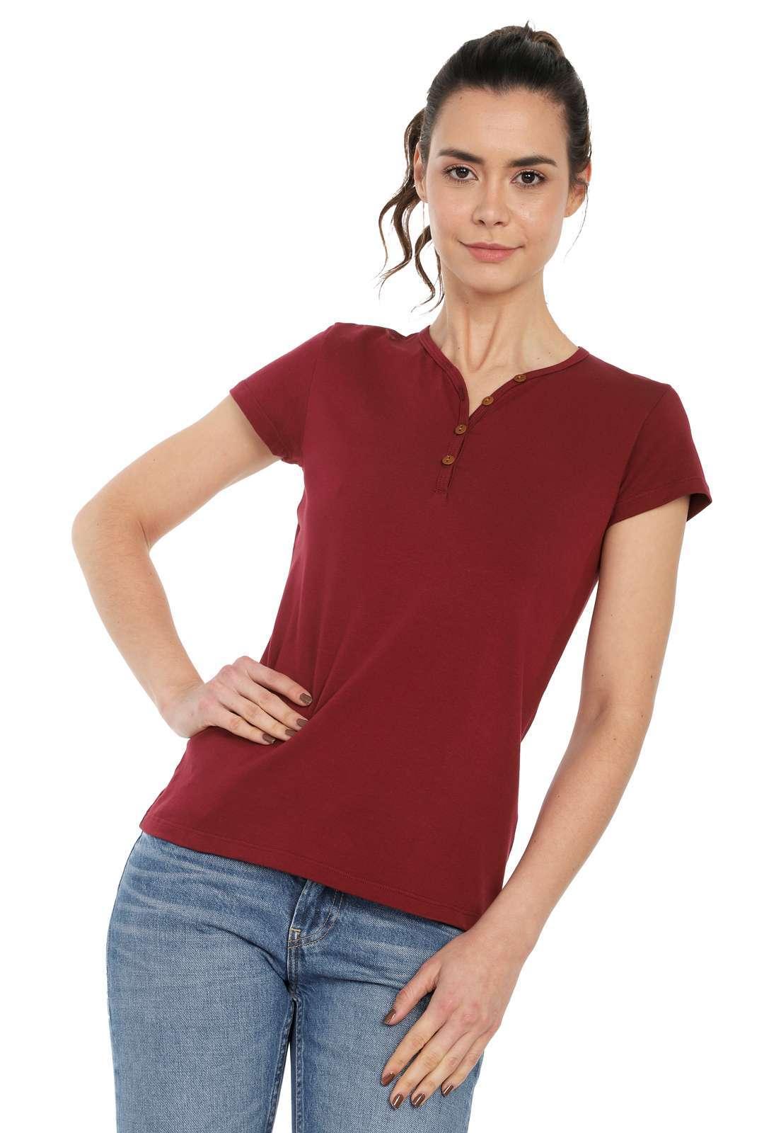 Camiseta Mujer Con Botones Licrada - Vinotinto | Polovers