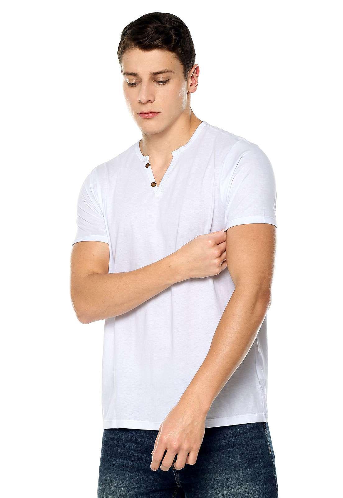 Camisetas de Hombre con Botones - Blanco