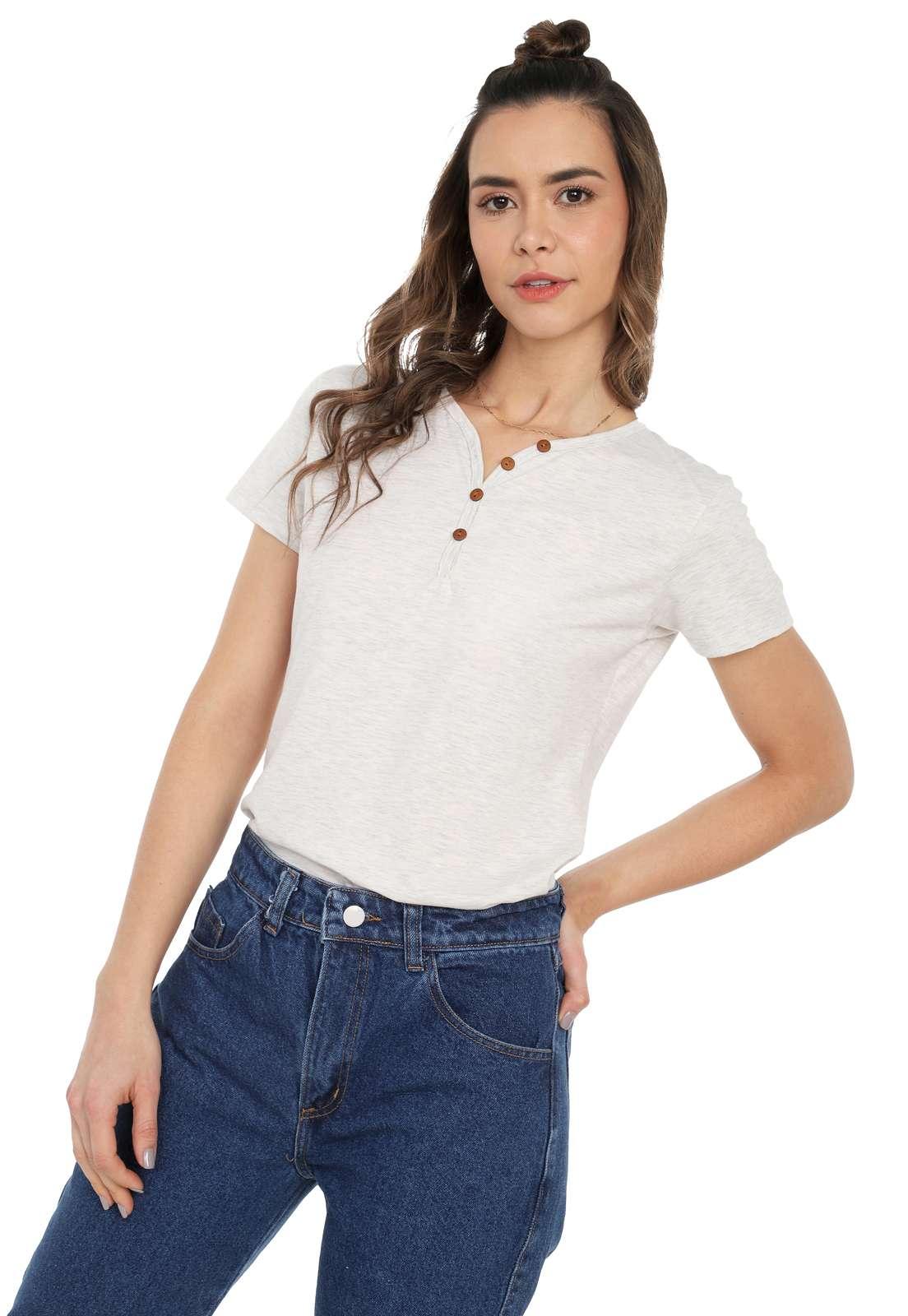 Camiseta Mujer Con Botones Licrada - Marfil | Polovers