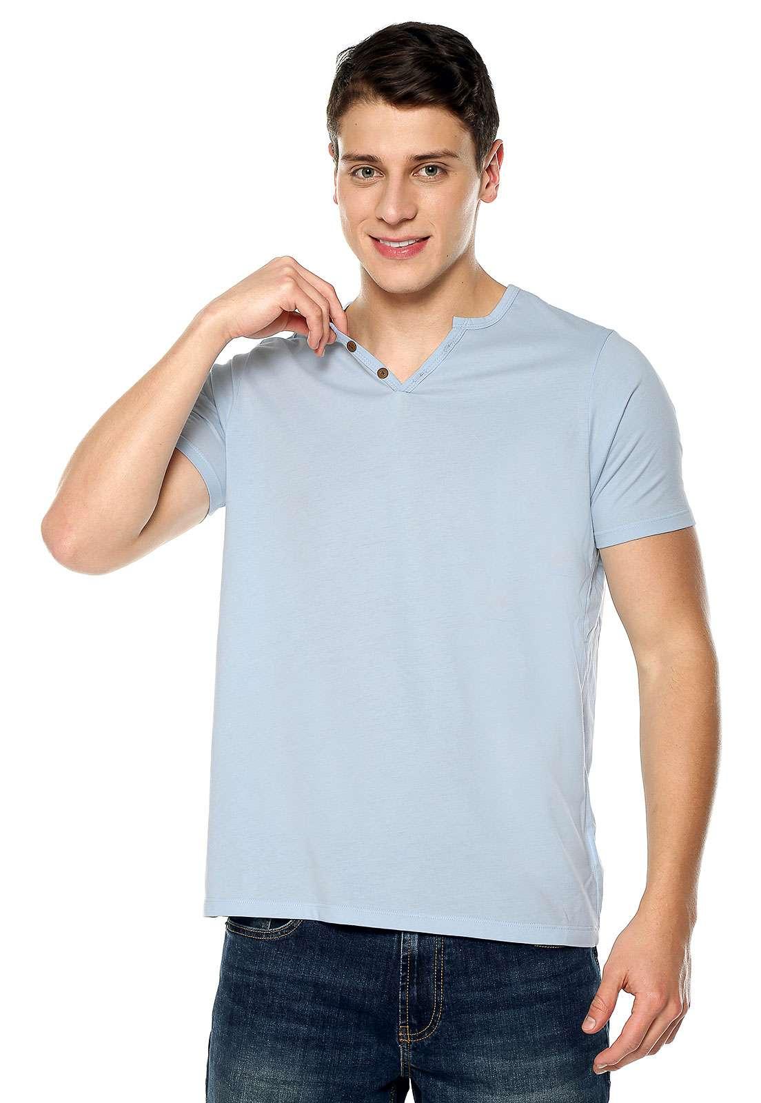 Camiseta Con Botones - Azul Claro | Polovers