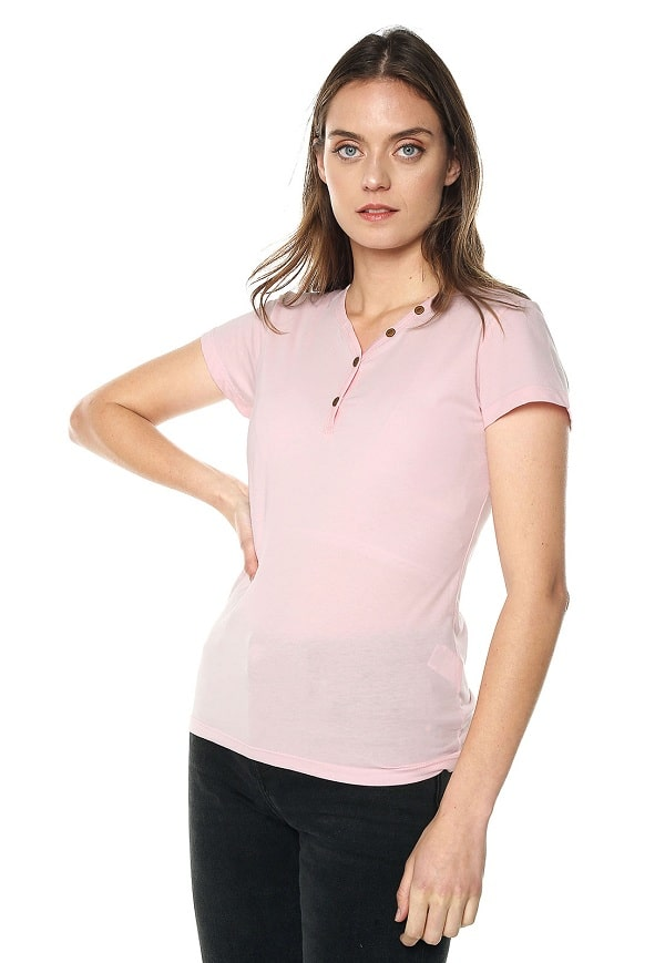 Camiseta Mujer Con Botones - Rosado | Polovers