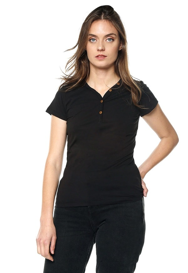 Camiseta Mujer Con Botones - Negro | Polovers