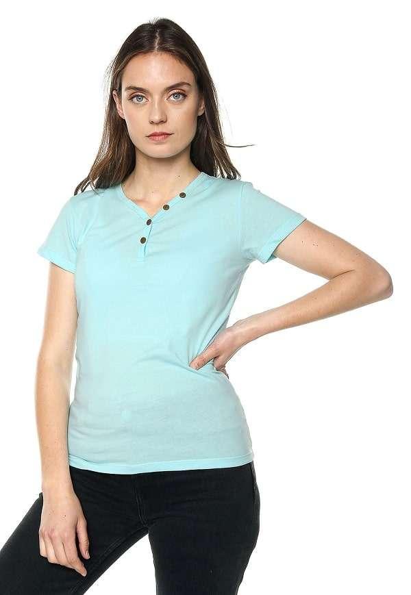 Camiseta Mujer Con Botones - Azul Aguamarina | Polovers