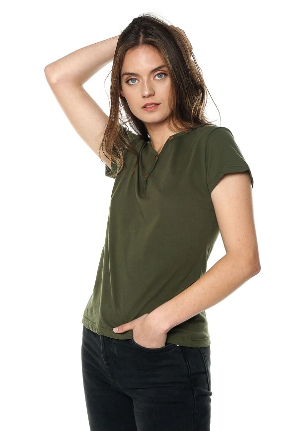 Camiseta Mujer Con Botones - Verde Militar | Polovers